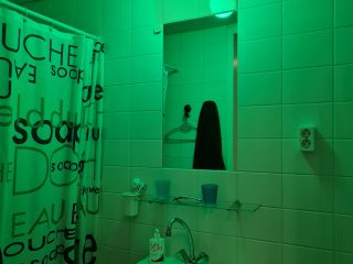 Green light in the bathroom