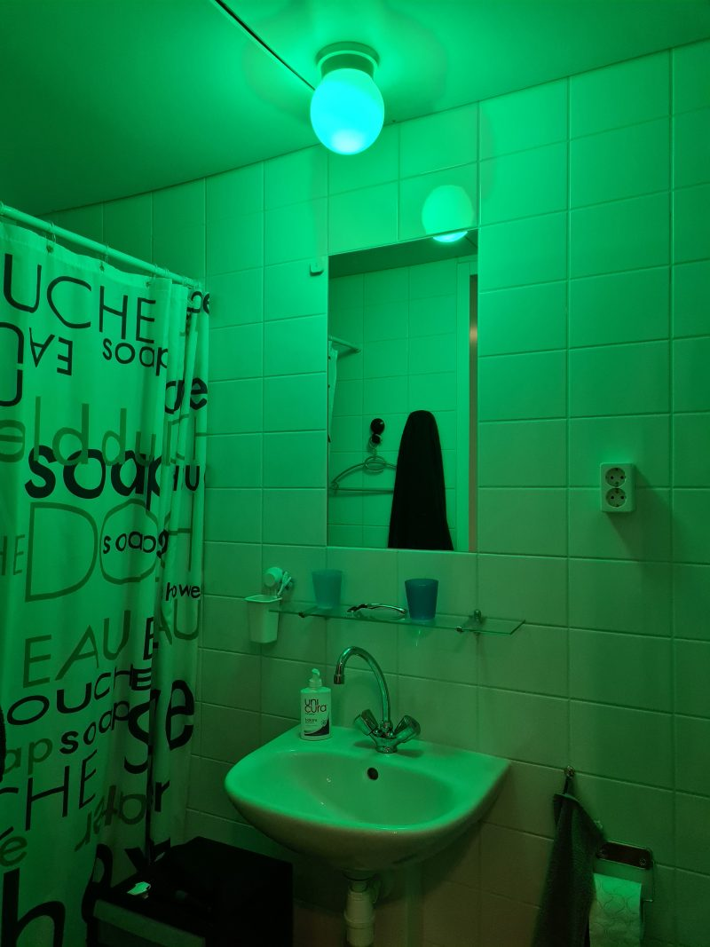 Green light in the bathroom